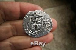 A66 Nice Shipwreack Silver Cob 4 Reales Carlos & Joanna 1516-1555 Mexico Mint