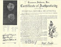 ATOCHA 1622 BOLIVIA 4 REALES GRADE 1 withFISHER TREASURE COA PIRATE GOLD COINS COB