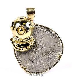 ATOCHA Philip III 4 REALES Shipwreck Cob Coin in 14k Gold Scuba Diver Pendant