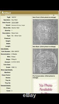 ATOCHA Shipwreck Cob Grade ONE Silver 8 Reales Assayer Q withTreasure Salvors Tag