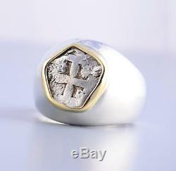 AUTHENTIC 1/2 Reales Treasure Cob Coin in Sterling Silver & 14KT GOLD Ring