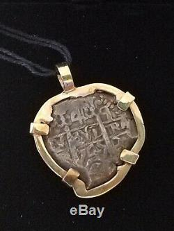 Ancient Shipwrecked 4-Reale Spanish Cob Coin with 14K Gold Bezel Pendant