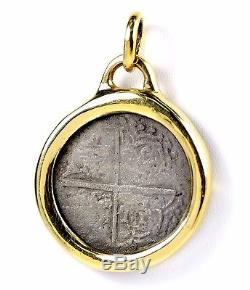 Atocha Potosi 8 Reales Q Silver Cob Coin in 14k Gold Pendant Bezel 40 GRAMS