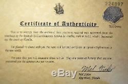 Atocha Potosi Silver Cob 8 Reale Shipwreck Coin #158, Mel Fisher Stamped COA