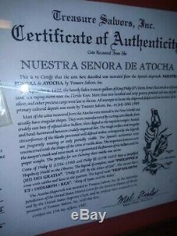 Atocha Shipwreck 1600's 8 Reales Cob Coin Grade IIII Treasure Salvors COA Framed