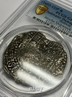 Atocha Shipwreck (1603-12) P R Bolivia 8 Reales PCGS F Detail Silver Cob Coin TV