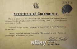 Atocha Shipwreck Potosi Silver Cob 4 Reale Coin #129, Mel Fisher Embossed COA