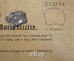 Atocha Shipwreck Potosi Silver Cob 8 Reale Coin, Mel Fisher Embossed COA #139