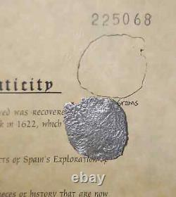 Atocha Shipwreck Potosi Silver Cob 8 Reale Coin, Mel Fisher Embossed COA #154