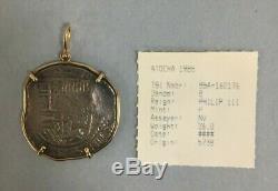 Atocha Spanish 8 Reale Shipwreck Phillip III 26.0 Grams Silver Cob in 14kt Bezel