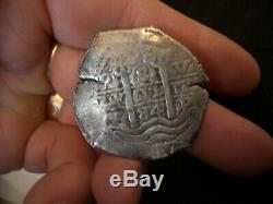 BOLIVIA CHARLES II 8 REALES SILVER COB 1684 PIRATE COIN fresh to maket find