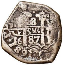 BOLIVIA Carlos II 1674-1700 silver 8 Reales 1687 Cob better grade