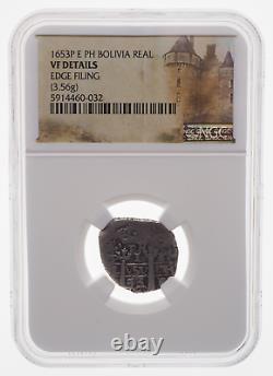 BOLIVIA. Philip IV, Silver Cob Real, 1653-P E PH, NGC VF Details