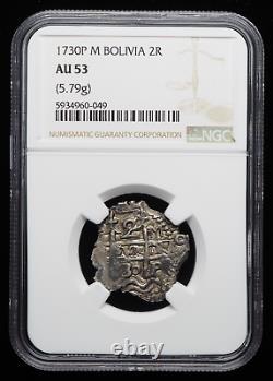 BOLIVIA. Philip V, Silver Cob 2 Reales, 1730-P M, NGC AU53, Strong struck +++