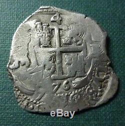 BOLIVIA (Potosi) SILVER COIN COB 4 Reales, KM25 1676 E (Double Dated)