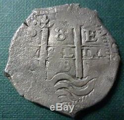 BOLIVIA (Potosi) SILVER COIN COB 8 Reales, KM26 1678 E (Double Dated)