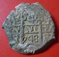 BOLIVIA SILVER COB 4 Reales, KM39 1748 PQ Double Dated (Potosi)