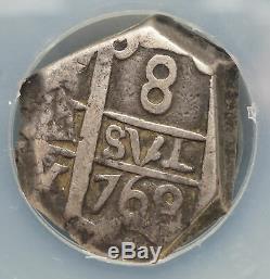 BOLIVIA. Silver Cob 8 Reales, 1768-P, 14.97 g, NGC Clipped