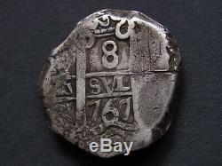 Bolivia. 1767-VY Cob 8 Reales. Potosi Mint. AVF