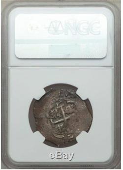 Bolivia Cob 1683 P-V 2 Reales NGC AU53 Charles II Potosi Mint Scarce