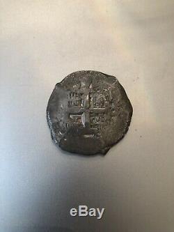 Bolivia, Potosi, 8 reales 1762, Silver Cob Pirate Treasure VF
