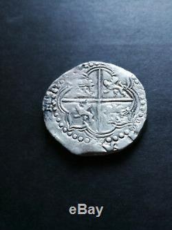 Bolivia silver coin 4 Reales Cob Philip II, assayer B