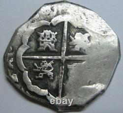CHARLES II 4 REAL COB 1600s SPANISH SILVER COLONIAL ERA ANTIQUE SILVER COB