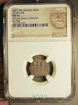 COB (18)23 Leon Nicaragua Provisional 1 Real 1823-PMPY NGC AU55 Finest Known