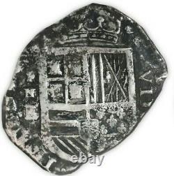 Cartagena, Colombia, cob 8 reales Philip IV, E below mintmark RN rare NGC VF 35
