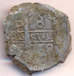 Cob Macuquina Potosi Bolivia 8 Reales 1768 VY Silver