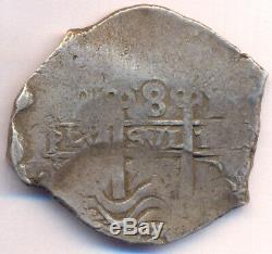Cob Macuquina Potosi Bolivia Silver 1715 Y 8 reales crown Philip V nice cross