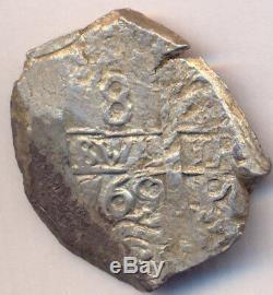 Cob Macuquina Potosi Bolivia Silver 8 Reales 1769 VY Carlos III Bargain Cross