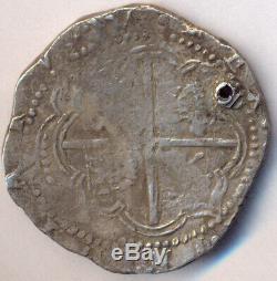 Cob Potosí Bolivia 8 Reales 1577-80 Philip II Shield Early Type Nice Old Cross
