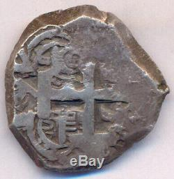 Cob Potosi Bolivia Carlos III 4 Reales 1761 VY Two Dates Silver Rare & Nice