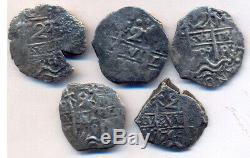 Cob Shipwreck Potosi Bolivia 2 Reales 5 Pieces Lot Philip V Nice Cross Bargain