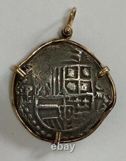 Dated 1621 Atocha 8 Reales Silver Shipwreck Cob Coin Grade I 14K Gold Bezel