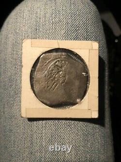 Eight Reales silver cob coin from 1715 shipwrecked Spanish fleet
