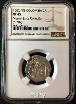 ¡¡ Extremely Rare! Silver Cob 2 Reales Santa Fe De Nuevo Reino 1662 Colombia