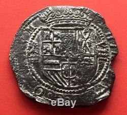 ¡¡ Extremely Rare! Silver Cob 8 Reales Of Philip Ii. 1597. Segovia. Arbol
