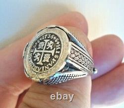 Genuine1736 1/2 Reales Spanish Silver Treasure Cob Coin Custom Sterling Ring sz