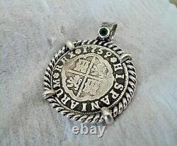 Genuine1759 2 Reales Silver Spanish Treasure Cob Coin With Emerald Pendant