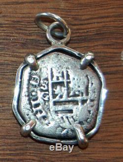 Genuine 1600's Spanish Phillip III Silver 2 Reales Cob Coin Pendant