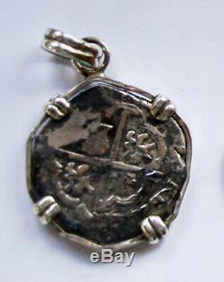 Genuine 1600's Spanish Phillip III Silver 4 Reales Cob Coin Pendant