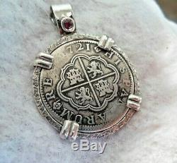 Genuine 1721 2 Reales Silver Spanish Treasure Cob Coin and Ruby Jewelry