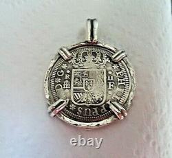 Genuine 1723 2 Reales Silver Spanish Treasure Cob Coin And Garnet Pendant