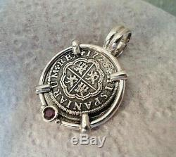 Genuine 1728 2 Reales Silver Spanish Treasure Cob Coin With Ruby Pendant