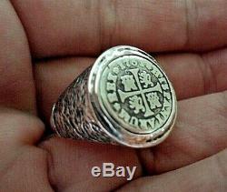 Genuine 1730 1/2 Reales Silver Spanish Treasure Cob Coin Sterling Ringsz 10 1/2