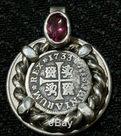 Genuine 1733 1/2 Reales Silver Spanish Treasure Cob Coin And Garnet Jewelry