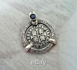 Genuine 1738 1/2 Reales Silver Spanish Treasure Cob Coin And Sapphire Jewelry
