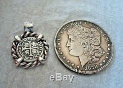 Genuine 1738 1/2 Reales Silver Spanish Treasure Cob Coin Custom Jewelry Pendant